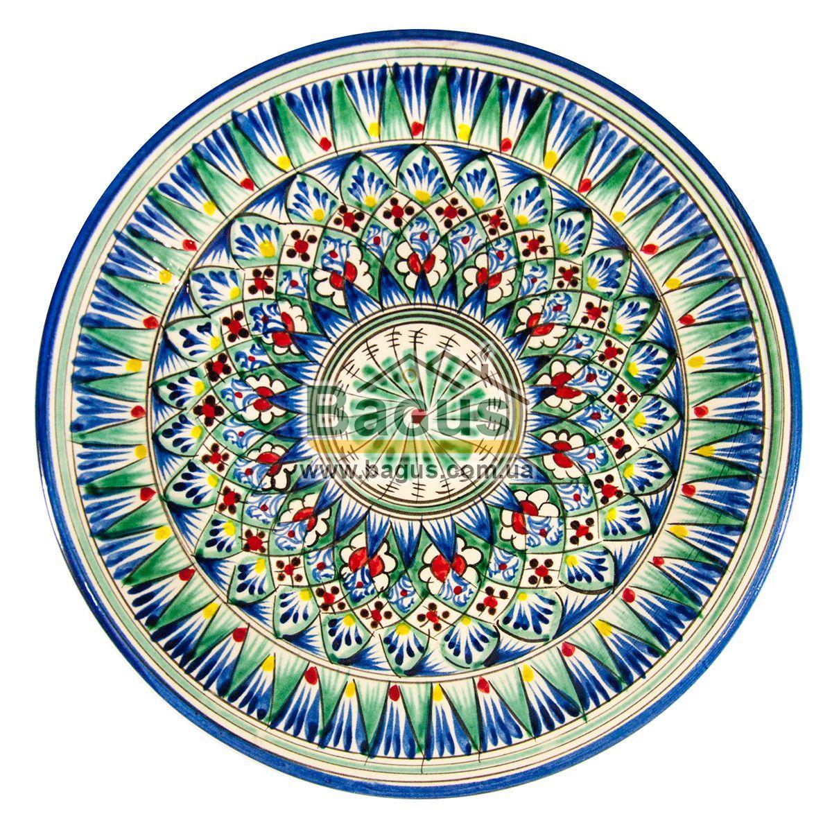 Тарілка узбецька діаметр 27см висота 3,5 см ручна робота 2704-08