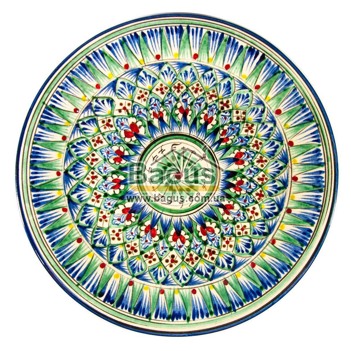 Тарелка узбекская диаметр 27см высота 3,5см ручная работа 2704-10