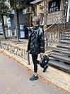 Женская демисезонная кожаная куртка со спущенным рукавом, воротником - стойкой и поясом 71kur338, фото 2