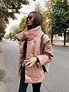 Женская демисезонная кожаная куртка со спущенным рукавом, воротником - стойкой и поясом 71kur338, фото 5