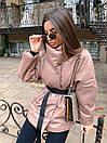 Женская демисезонная кожаная куртка со спущенным рукавом, воротником - стойкой и поясом 71kur338, фото 9