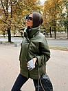 Женская демисезонная кожаная куртка со спущенным рукавом, воротником - стойкой и поясом 71kur338, фото 10