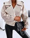 Женская кожаная куртка оверсайз в молочном цвете (р. единый 42-46) 77kur339, фото 3