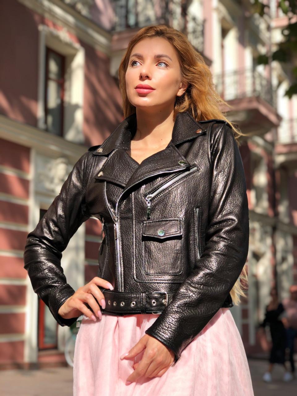 Черная куртка косуха из кожи Джамбо