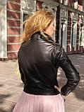 Черная куртка косуха из кожи Джамбо, фото 2