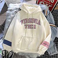 Женское теплое худи с надписью и карманом (размер 42-46) 68dmde891, фото 1