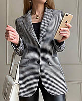 Женский черно - белый пиджак в принт гусиная лапка на подкладе 63mka292, фото 1