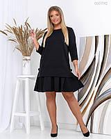Платье черное с рукавом 3/4 и оборкой на юбке в больших размера 83mbr755, фото 1