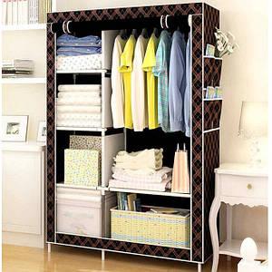 Шкаф тканевый, гардероб текстильный HCX-105 NT чёрный/золото на 2 секции