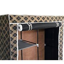 Шкаф тканевый, гардероб текстильный HCX-105 NT чёрный/золото на 2 секции, фото 2