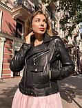 Черная куртка косуха из кожи Джамбо, фото 4