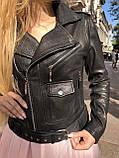 Черная куртка косуха из кожи Джамбо, фото 6
