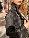 Черная куртка косуха из кожи Джамбо, фото 3