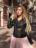 Черная куртка косуха из кожи Джамбо, фото 5