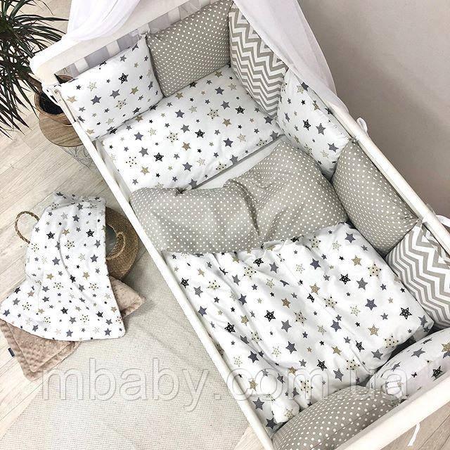 Детский постельный комплект Baby design Star grey