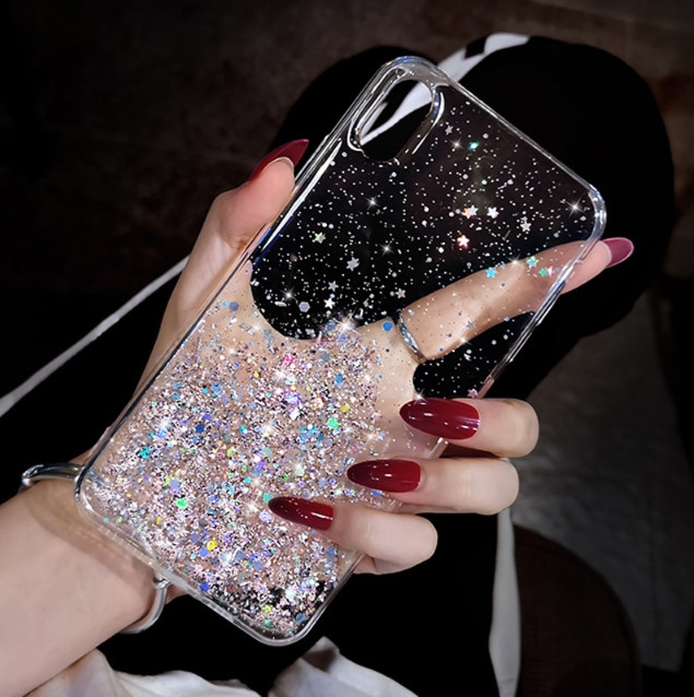 Блестящий чехол с серебряной фольгой Iphone XR
