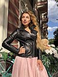 Чорна куртка з гладкої шкіри з діагональними рядками, фото 9
