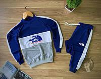 Мужской спортивный костюм North Face бело-синего цвета с лампасами (мужской спортивный костюм 90% хлопок)