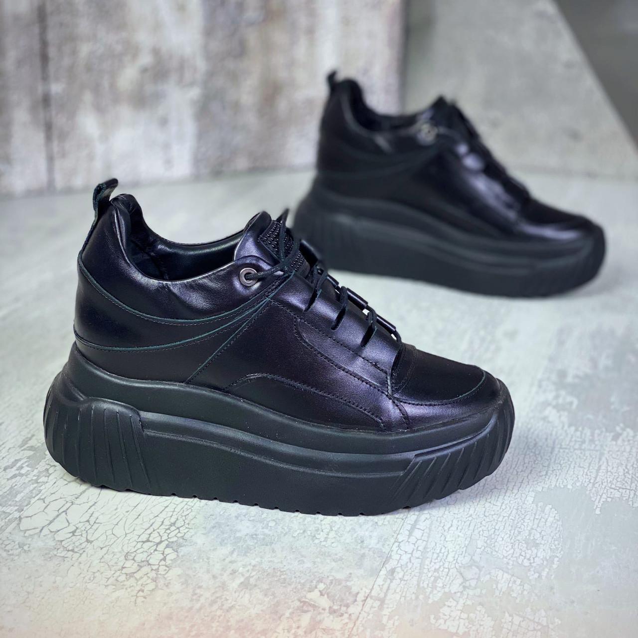 Высокие кожаные кроссовки на шнуровке 36-40 р чёрный