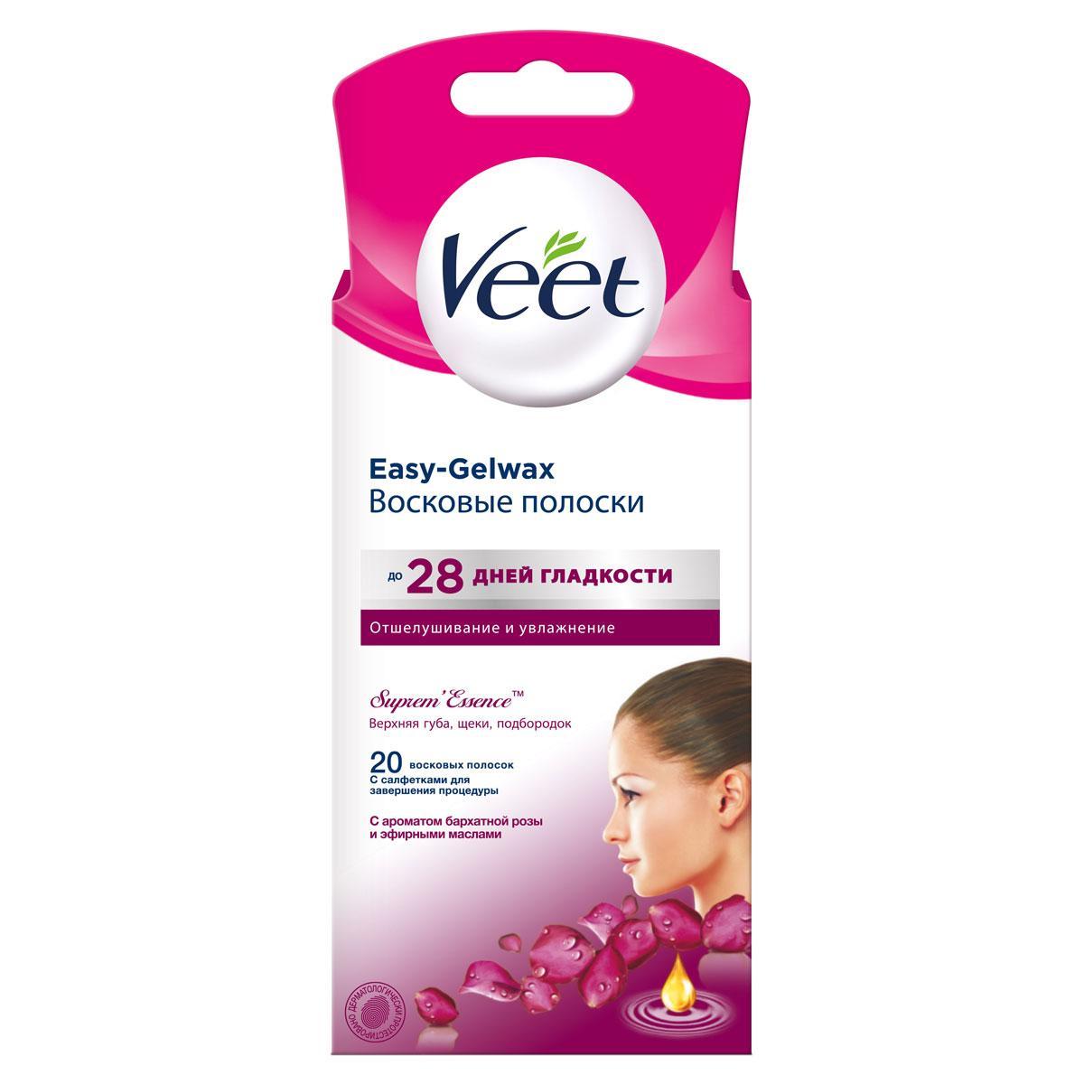 Восковые полоски для лица Veet Suprem'Essence c ароматом бархатной розы и эфирными маслами,  18 шт