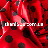 Атлас Горох принт   ( Красный - Чёрный)