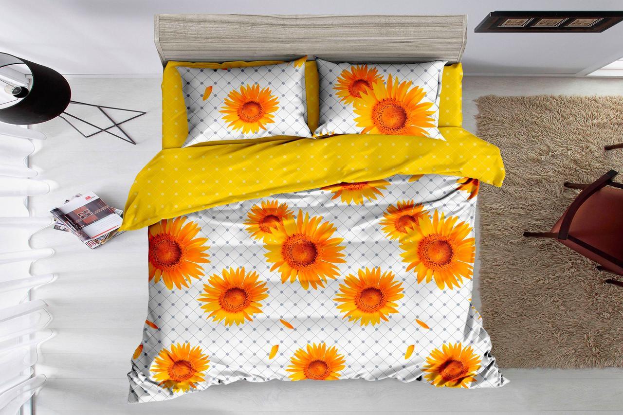 Двуспальный комплект постельного белья на резинке 180*220 сатин (15075) TM КРИСПОЛ Украина