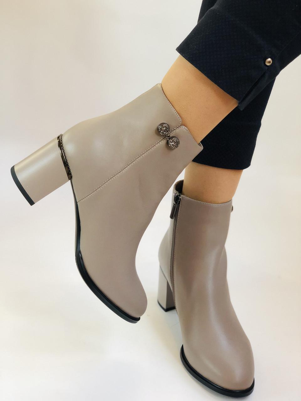 Жіночі осінні черевики. На середньому каблуці. Натуральна шкіра.Molka. Р. 37 38 39.40.Vellena