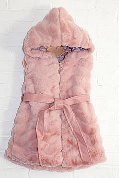 """Жилетка меховая на девочку с капюшоном """"Розовый шик"""""""
