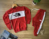 Мужской спортивный костюм North Face красного цвета с лампасами (мужской спортивный костюм 90% хлопок)