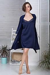 Ночная рубашка + халат MiaNaGreen К422н Синий