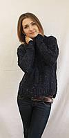 Стильный женский укороченный свитер вязка синий, фото 1