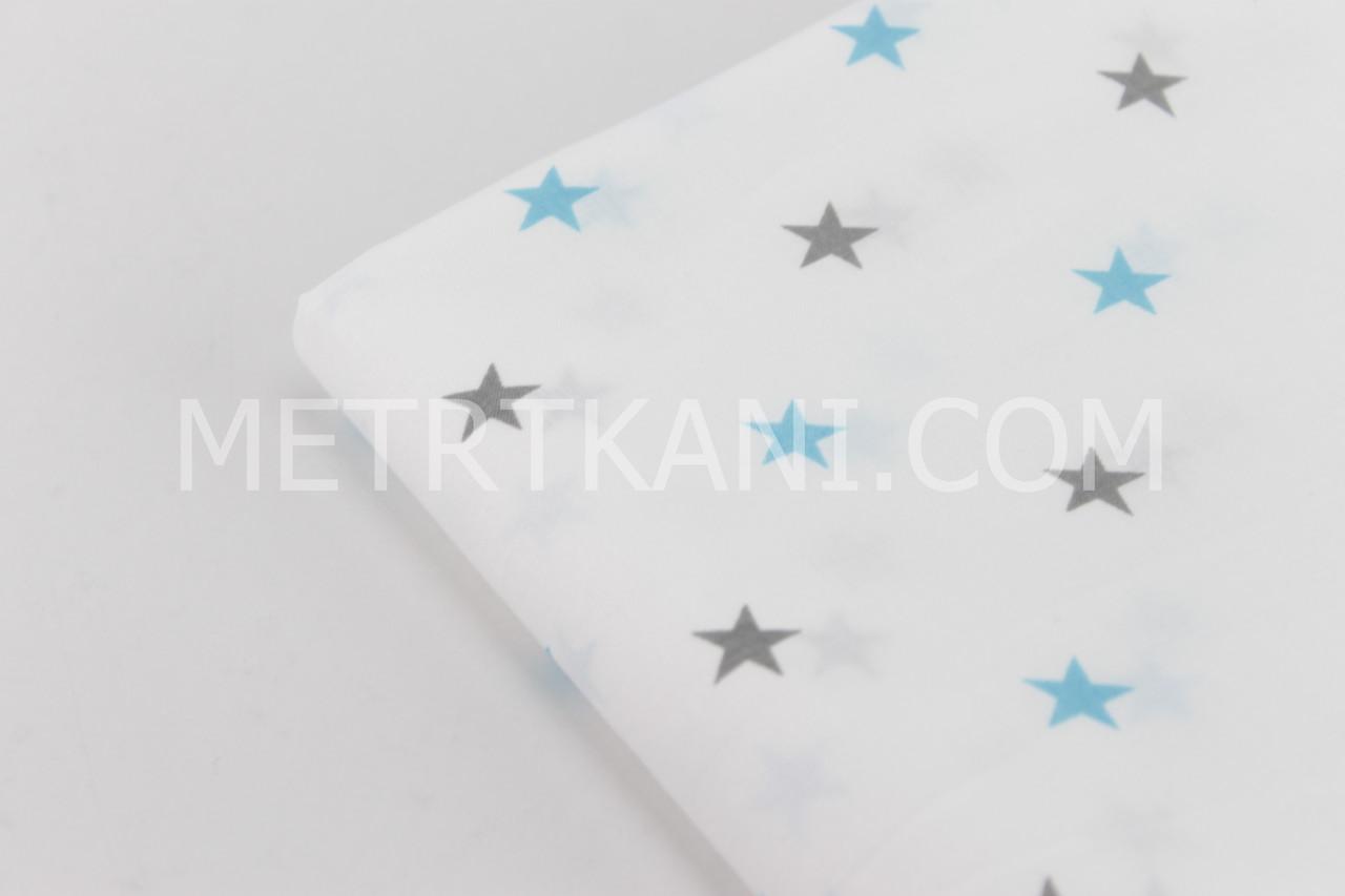 Лоскуток.  Ткань с бирюзовыми и серыми звёздочками  50*160 см