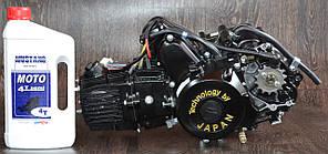 Двигатель на мопед Альфа; Дельта 110 куб, механика ( черный ) + ПОДАРОК масло 4т Mustang