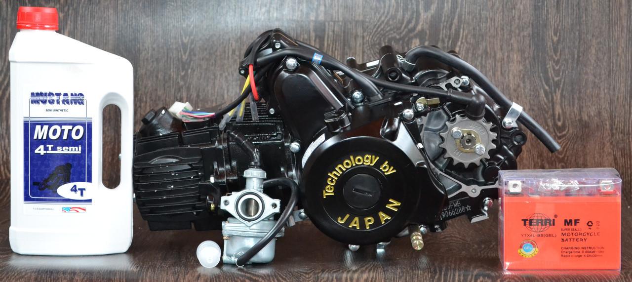 Двигатель на мопед Альфа; Дельта 110 куб, механика + Подарок - масло, карбюратор, аккумулятор