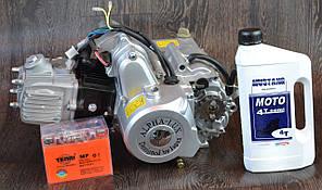 Двигатель на мопед Альфа; Дельта 110 куб, механика + ПОДАРОК масло и аккумулятор