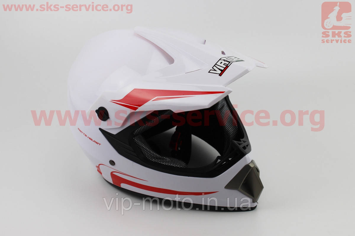 Шлем кроссовый MD-905 L- БЕЛЫЙ с красным рисунком