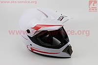 Шлем кроссовый MD-905 L- БЕЛЫЙ с красным рисунком, фото 1
