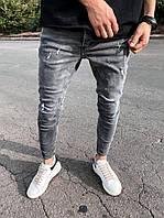 Мужские серые джинсы скинни с потертостями, зауженные, демисезонные, узкие