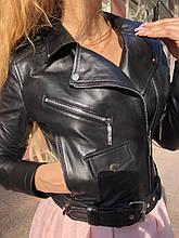 Черная косуха с кармашком из натуральной гладкой кожи