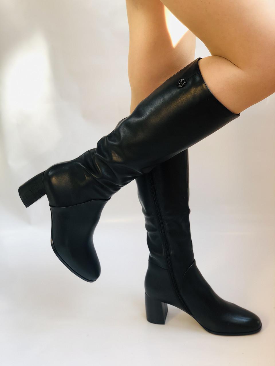 Женские осенне-весенние сапоги на среднем каблуке. Натуральная кожа.Высокое качество. Р 37.38.40 Polann