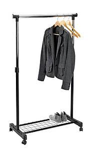 Напольная вешалка стойка для одежды одинарная, с полкой для обуви