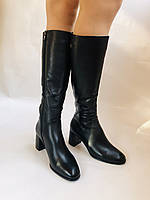 Женские осенне-весенние сапоги на среднем каблуке. Натуральная кожа.Высокое качество. Р 37.38.40 Polann, фото 7