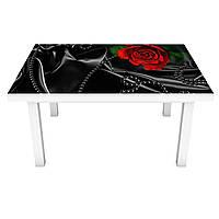 Виниловая 3Д наклейка на стол Черный шелк и красные розы (ПВХ пленка самоклеющаяся) цветы Текстура 600*1200 мм