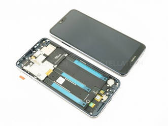 Дисплей для Nokia 7.1 с тачскрином и синей рамкой черный Оригинал