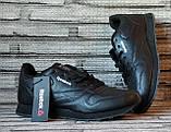Мужские кожаные кроссовки Reebok Classik. Демисезонные черные кроссовки. Индонезия. Реплика., фото 2