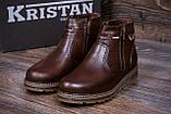 Мужские кожаные зимние ботинки Kristan City Traffic Brown, фото 7