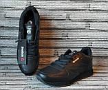 Мужские кожаные кроссовки Reebok Classik. Демисезонные черные кроссовки. Индонезия. Реплика., фото 3
