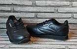 Мужские кожаные кроссовки Reebok Classik. Демисезонные черные кроссовки. Индонезия. Реплика., фото 4
