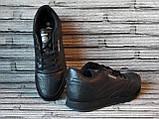 Мужские кожаные кроссовки Reebok Classik. Демисезонные черные кроссовки. Индонезия. Реплика., фото 5