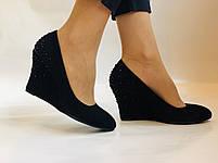 Жіночі модельні туфлі-човники на скелі.Blue Tempt. Натуральна замша. Чорний Розмір 39.40, фото 3
